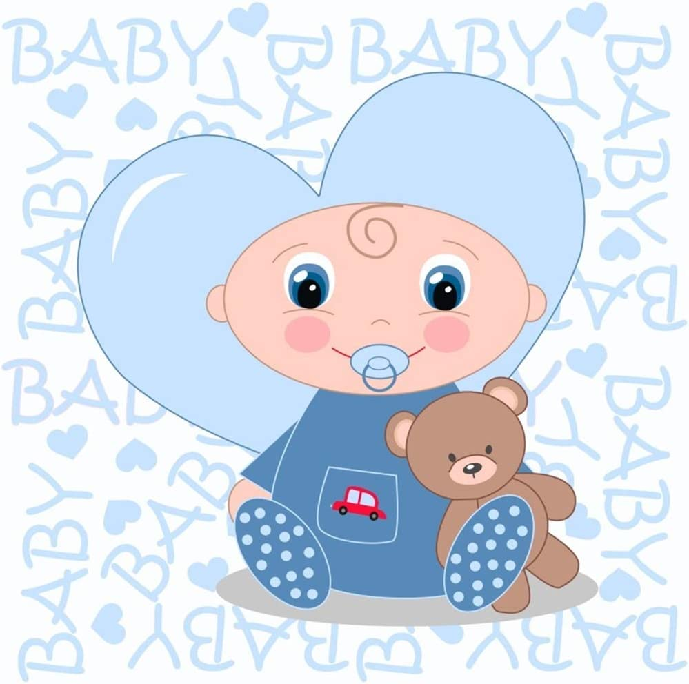 8x8ft Cartoon Cute Boy Baby Shower Backdrop Polyester Cute Baby Sucking Nipple with Bear Toy Heart Design Illustration Blue Photo Background Boy Baby Shower Party Banner Child Baby Shoot