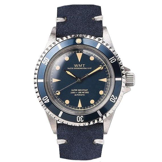 Walter Mitt Royal Marine Diver Acero Automático Miyota Azul Cuero Reloj Unisex: Amazon.es: Relojes