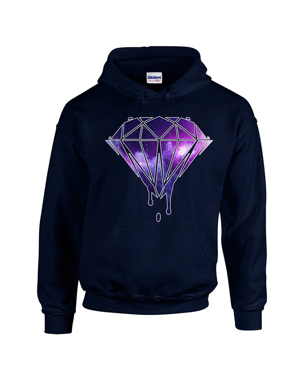 Mickey Diamond Galaxy Colors Disney Unisex Pullover Hoodie Hooded Sweatshirt(Navy,X-Large)