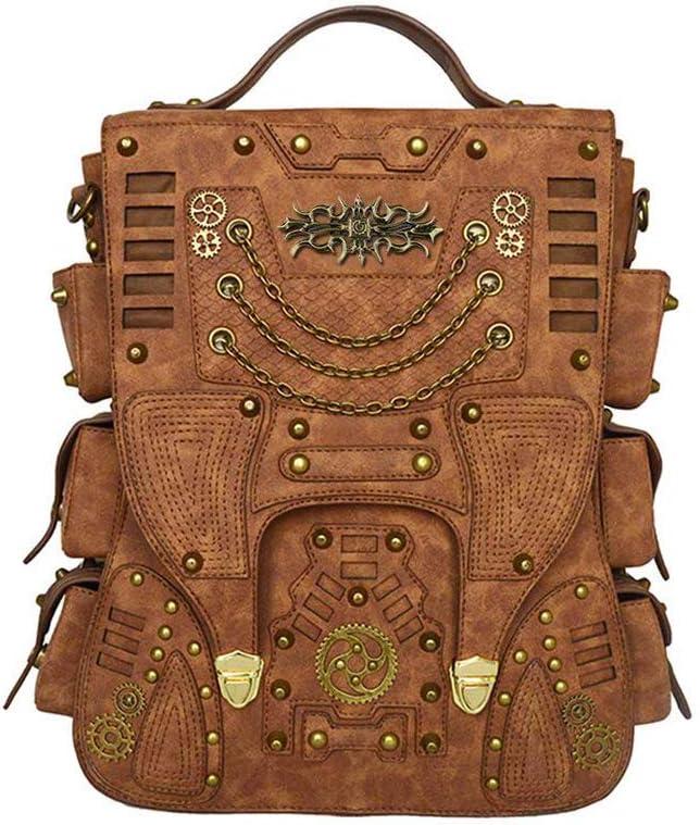 MenS And WomenS Leather Backpacks Artificielle En Cuir Pu R/éTro Ordinateur Portable Ordinateur Sac /à Dos En Plein Air Steampunk Sac /à Dos Femmes Pu Sac /à Dos Voyage Randonn/éE Pique-Nique Sac