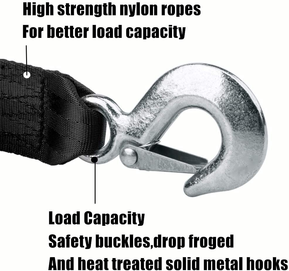 Heavy Duty Equipment Wave Runner Norico Boat Trailer Winch Strap with Hook 2 x 20 Heavy Duty Strap Replacement 50000 lbs Breaking Strength for Boats Trailer