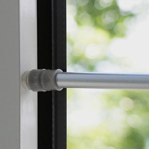 Amazon De Tur Fenster Klemmstange Gardinenstange Ohne Bohren Fur Scheibengardinen Oder Turvorhange Silber Chrom 80 120 Cm