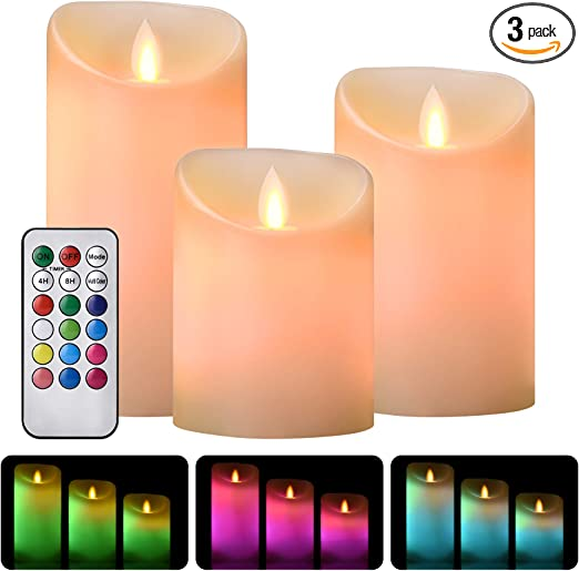 Luzzup Flameless Candles, Battery Operated LED Candles, Flameless Candles with Remote Control & Timer Paraffin Wax 4