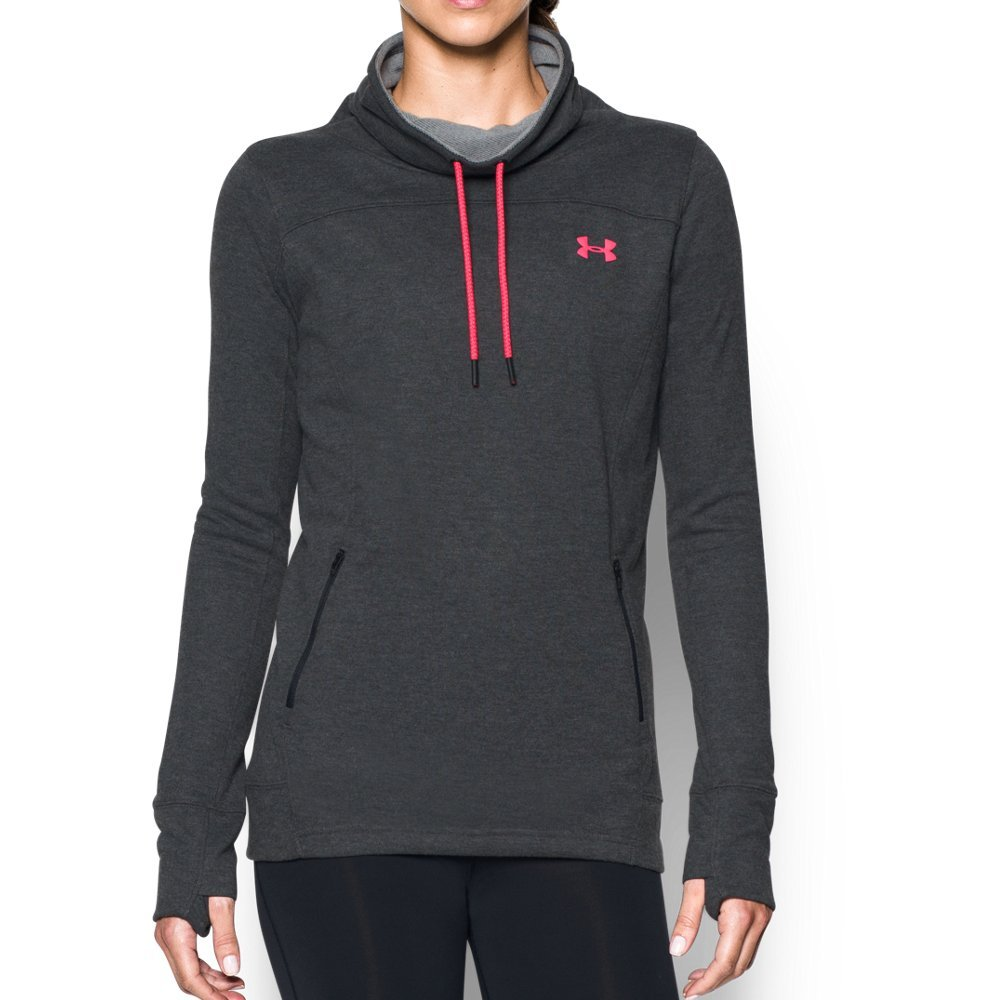 Under Armour Women's Featherweight Fleece Slouchy Popover, Carbon Heather (090)/Pink Shock, X-Small