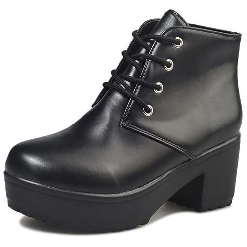 d01b10448f2 Beaumens Women's Lace-up Platform High Heels Fake Leather Short ...
