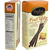 Bogdon's Reception Candy Sticks Dark Chocolate Dipped Fruit Twists (Lemon, Orange, Cherry, Strawberry) - 2.6 Oz. - 21-sticks Box
