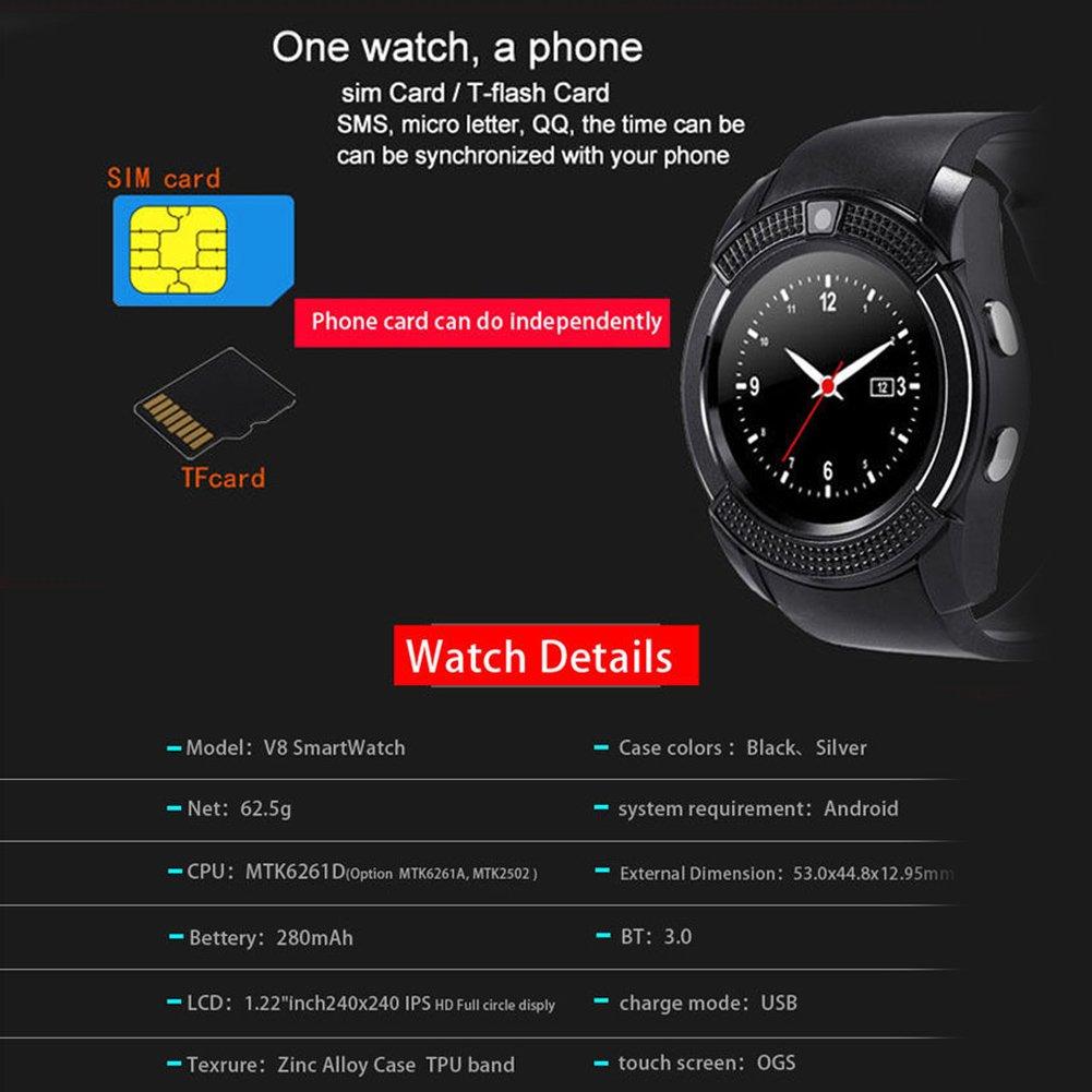 Smartwatch Demiawaking Reloj Inteligente V8 1.22inch Smart Watch TF Tarjeta SIM Bluetooth Smartwatch para el Teléfono