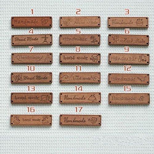 Wood Label Brown Ribbon Sewing Logo Tape Tag 100 Pcs, Handmade Sign