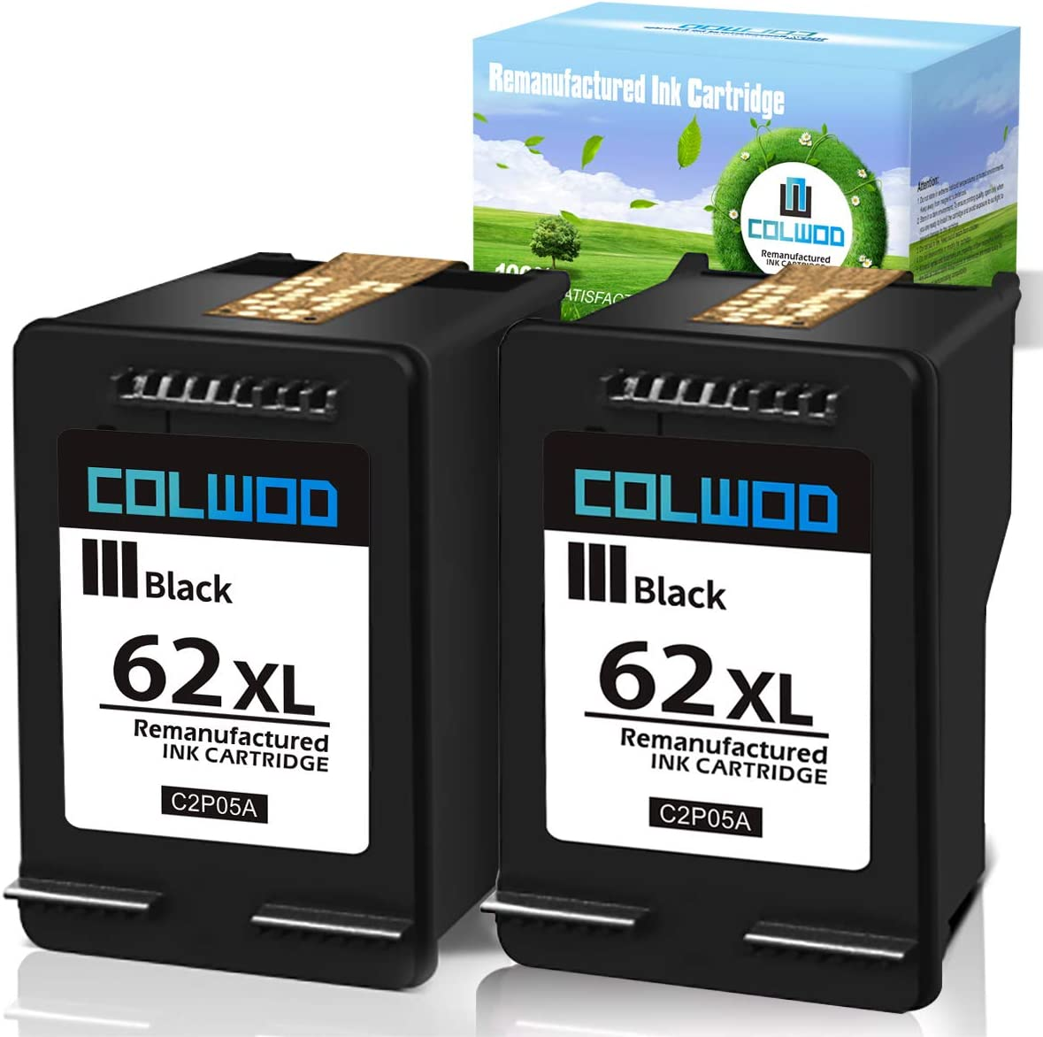 CLOWOD Remanufactured Ink Cartridge Replacement for HP 62XL 62 XL to use with Envy 5540 5640 5660 7644 7645 OfficeJet 5740 8040 OfficeJet 200 250 Series Printer (2 Black)