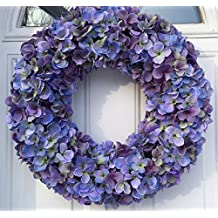 Cape Cod Blues Hydrangea Wreath Year Round Wreath For Everyday Decorating Use On Protected Front Door Or As An Indoor Wreath Shades of Blue and Purples