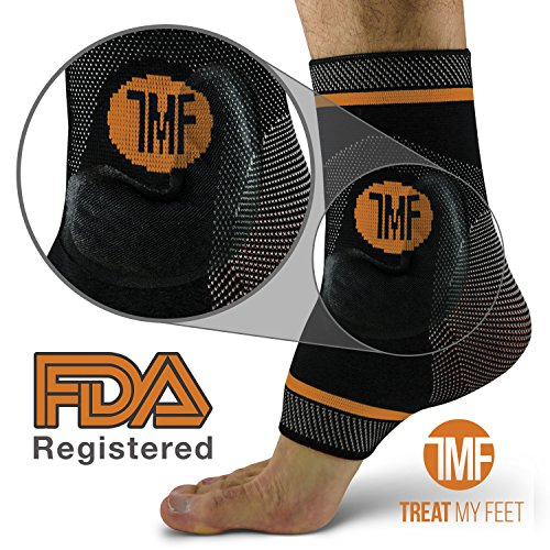 Pair of Copper Infused Compression Ankle Brace, Silicone Ankle Support w/Anti-Microbial Copper. Plantar Fasciitis, Foot, Achilles Tendon Pain Relief. Prevent and Support Ankle Injuries & Soreness