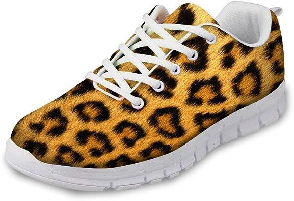 Zapatillas De Correr Para Mujer Tallas Grandes Zapatillas De Deporte Para Caminar Zapatos De Piel De Leopardo Marron Venas Impresas Moda De Fitness Transpirables Amazon Es Zapatos Y Complementos
