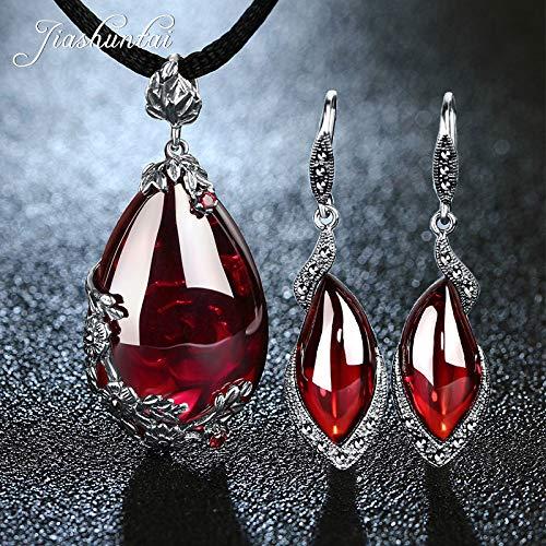 LTH12 Jewelry Sets - Retro 100% 925 Sterling Silver Garnet Pendant Necklace Gemstone Drop Earrings for Women Jewelry Sets 1 PCs