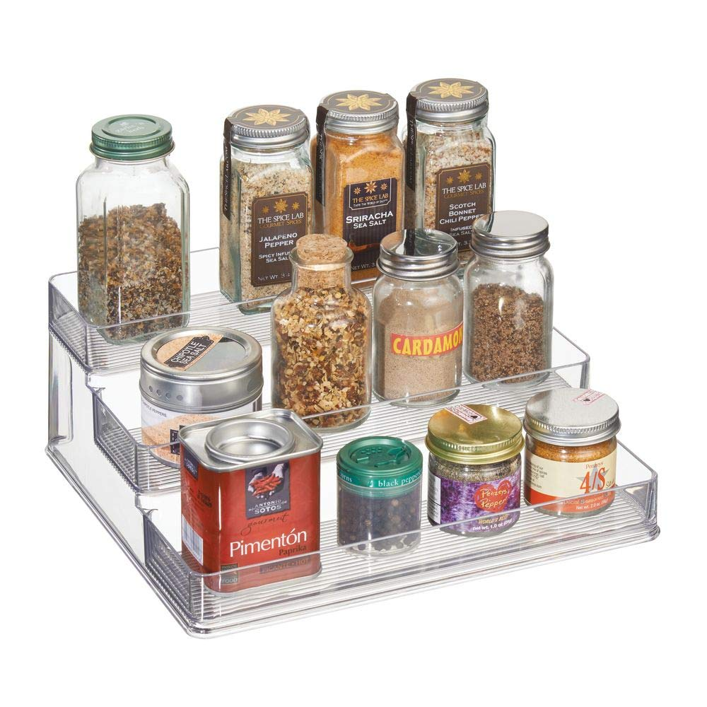 InterDesign Linus Spice Organizer Rack – 3-Tiered Storage for Kitchen Pantry, Cabinet, Countertops - Large, Clear