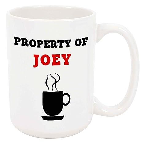 Amazon.com: Property of Joey - Taza de café o té de 15 onzas ...