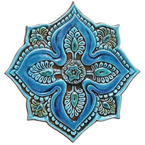 Outdoor wall art turquoise tile 11