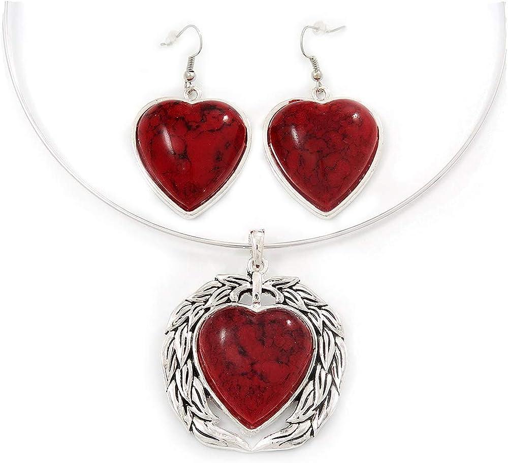 Conjunto de Pendientes y Collar de Alambre Flexible con Dije Corazón Rojo Coral con enchapado de Plata