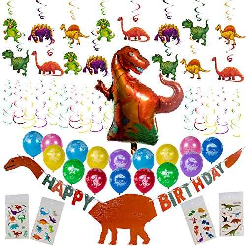 Artunique Dinosaur Party Supplies | 52PC Party Decorations Kit Including Dinosaur Balloons (16) | Happy Birthday Banner (1) | Hanging Swirls (30) | Mylar Balloon (1) | Tattoos (4) for Party