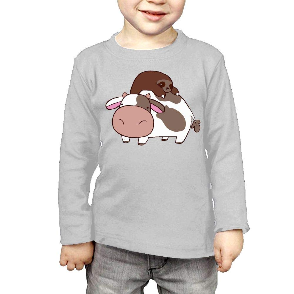 CERTONGCXTS Baby Girls Little Boys Sloth and Cow ComfortSoft Long Sleeve Shirt