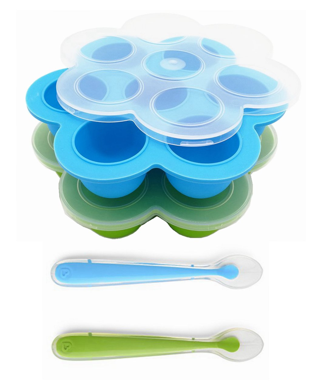 Silicone Baby Food Container Home Snack Maker Tray with Spoon and Plastic Lid for Instant Pot/Baking Oven/Freezer, 100% Child Safe, FDA Approved, NO BPA(2 Trays and 2 Spoons)