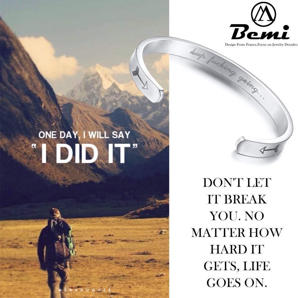 BEMI Inspirational Bracelets for Women Engraved Personalized Mantra Cuff Bangle for Men