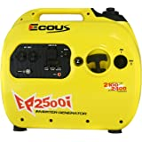 ECOUS EP2500i portable inverter generator, 2100 running watts, 2400 starting watts, EPA & CARB compliant, Gas powered, Free anti-dust bag, Free oil for initial use, Parallel capable