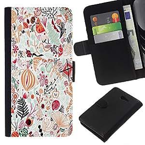 For Sony Xperia M2 Case , Abstract Detailed Art Birds - la tarjeta de Crédito Slots PU Funda de cuero Monedero caso cubierta de piel