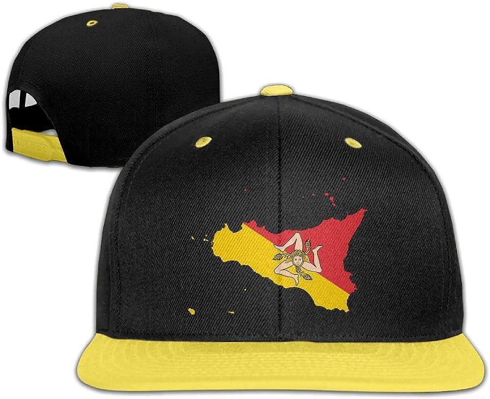 HERSTER Toddler Boys Girls Flag Map of Sicily Baseball Cap Trucker Hiphop Caps