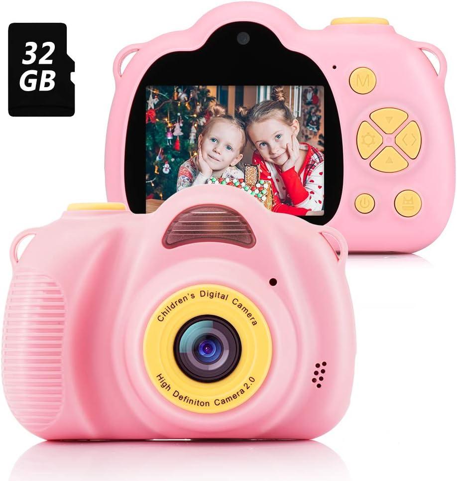 Fede Cámara para Niños con Tarjeta TF 32GB,Cámara Digitale Selfie para Niños,Video cámara Infantil con Pantalla de 2.4 Pulgadas,HD 8MP/1080P Doble Objetivo,a Prueba de Golpes,Carcasa de Silicona