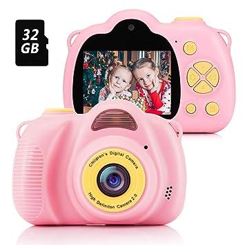 Fede Cámara para Niños con Tarjeta TF 32GB,Cámara Digitale Selfie para Niños,Video cámara Infantil con Pantalla de 2.4 Pulgadas,HD 8MP/1080P Doble ...