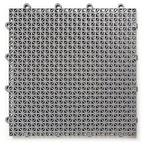 Modular Floor - DuraGrid CRGRY Cross-Rib Design, Interlocking Modular Self-Draining Multi-Use Safety Floor Matting (12 Pack), Gray