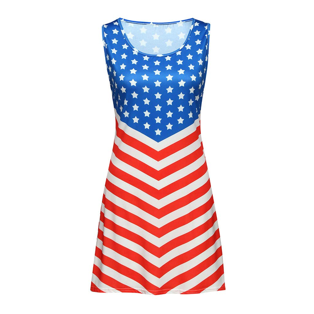Womens Sleeveless Floral Print Stars and Stripes Racerback Midi Dress 4th of July Apparel Independence Day