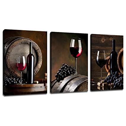Amazoncom Sechars 3 Piece Canvas Wall Art Red Wine Painting For