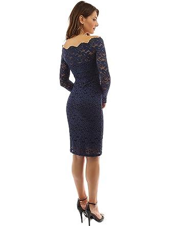0ec9a4888919 Amazon.com: Women's Off Shoulder Elegant Lace Hollow Dress Long Sleeve  Bodycon Cocktail Party Wedding Dresses,Blue,L: Clothing