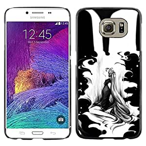 Paccase / SLIM PC / Aliminium Casa Carcasa Funda Case Cover para - Black Woman Minimalist Drawing - Samsung Galaxy S6 SM-G920