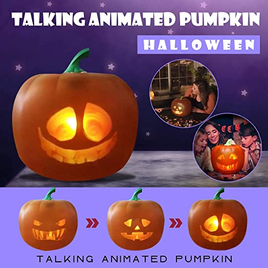 US Stock Loash Angwen Halloween Projection Lamp, Halloween Lights Talking Pumpkin Projection Lamp, Talking Animated Pumpkin with Built-in Projector Speaker