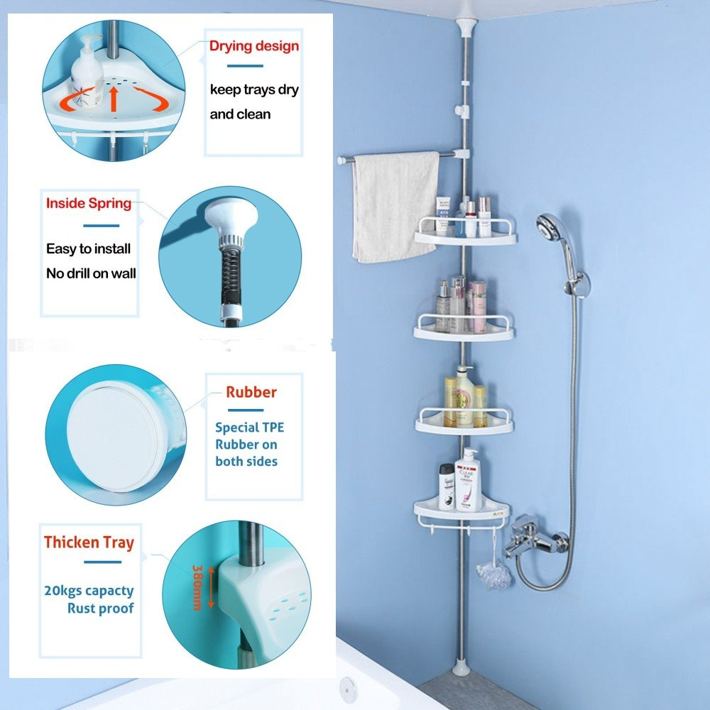 Amazon.com: Baoyouni Bathroom Shower Corner Caddy Tension Pole, 4 ...