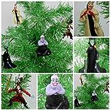 Villains 4 Piece Christmas Ornament Set Featuring Peter Pan's Captain Hook, Little Mermaid's Ursula, Dalmatains Cruella and Sleeping Beauty Maleficent