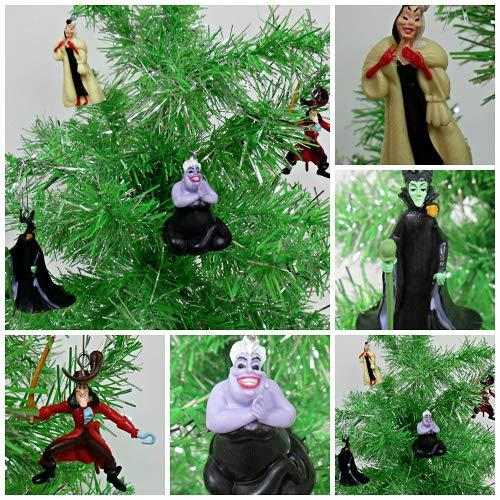 (Villains 4 Piece Christmas Ornament Set Featuring Peter Pan's Captain Hook, Little Mermaid's Ursula, Dalmatains Cruella and Sleeping Beauty Maleficent)