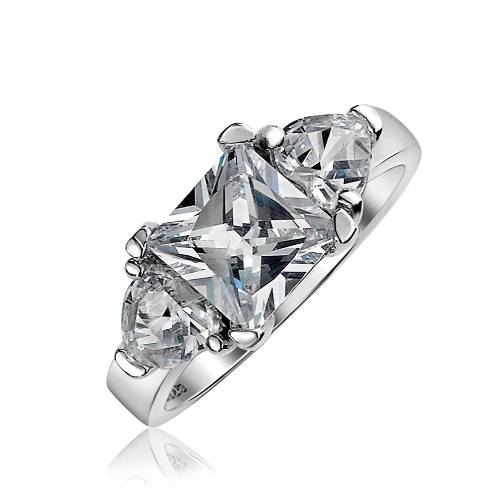 .925 Silver 3 Stone Princess Cut CZ Heart Engagement Ring