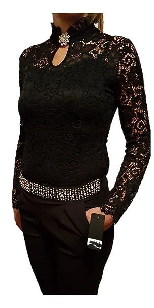 8e4e9bb822 Piccole follie maglia sottogiacca donna in pizzo con colletto smerlato e  spilla con strass (Nero