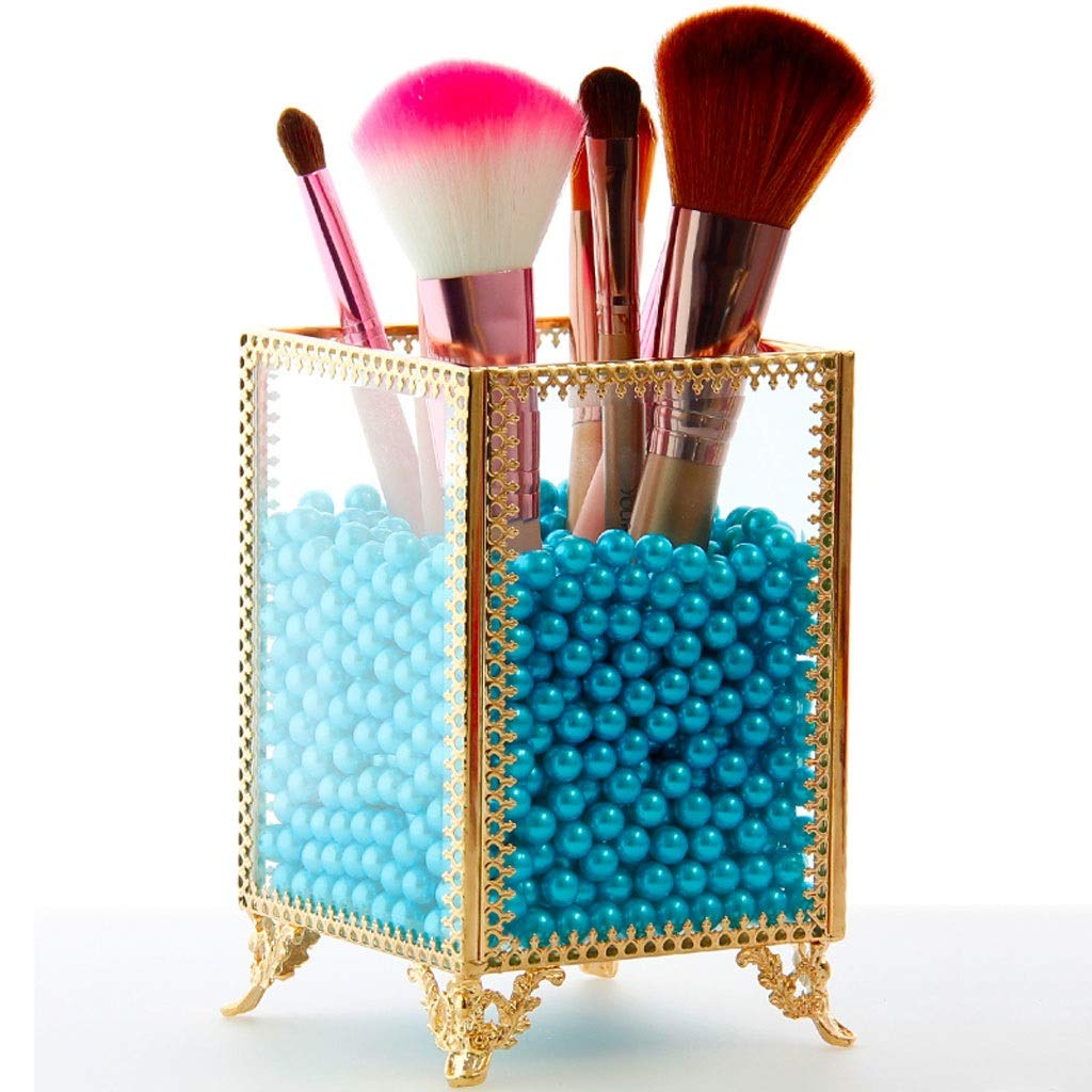 Zhzpsn Cosmetic Storage Glass Makeup Cosmetic Organizer Makeup Brush Eyebrow Pencil Eyeliner Pearl Storage Box (Color : Blue)