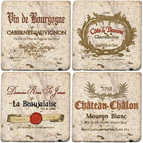 Thirstystone Ambiance Travertin Wine Labels Untersetzer, mehrfarbig, von Thirstystone