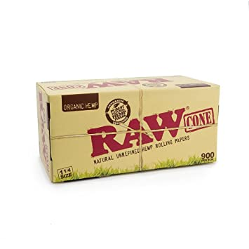 Organic 1 1/4 Pure Hemp Pre-Rolled Cones with Filter (900 Pack) by RaW