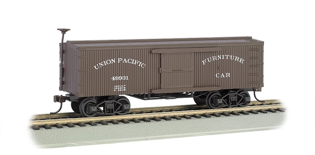 Bachmann Old-Time Box Car - Union Pacific - N Scale, Prototypical Brown