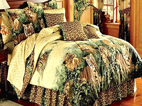 Safari WILD CATS Leopards LIONS & Tigers Animal Print Beige Comforter Set & Cheetah Sheets + TWO PILLOWS (10pc FULL Size 76