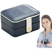 Mini Jewelry Box Organizer Travel Small Portable Storage Case with Mirror Zipper for Rings Earrings Necklace