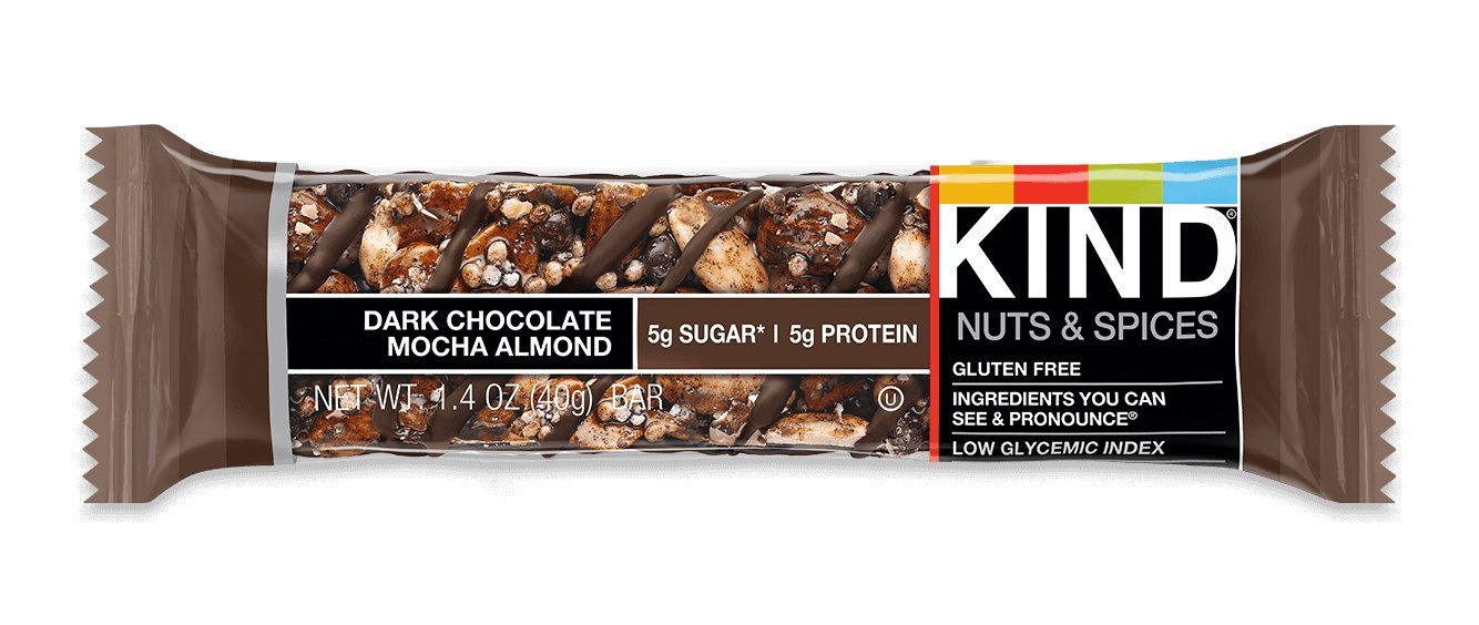 KIND Bars, Dark Chocolate Mocha Almond, Gluten Free, Low Sugar, 1.4oz, Sample by KIND (Image #1)