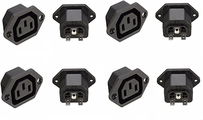 uxcell AC110-250V 10A Female IEC320 C13 Power Socket Adapter Connector 3 Terminals Panel Mount 5 Pcs