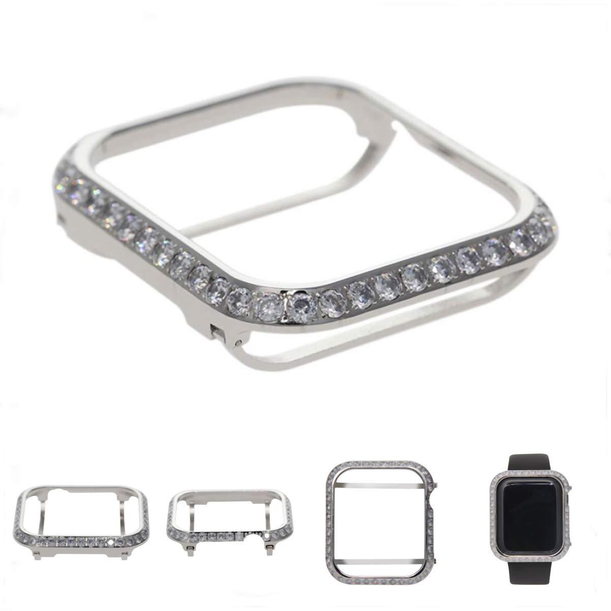 HJIN 3.0mm Bling spakling Bling Rhinestone Diamond Zircon Crystal case Cover Bezel Handwork Inlaid Compatible Apple Watch Series 4 Series 3 2 1 (Platinum, 44mm) by HJIN